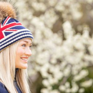 Union Jack Flag with Fur Pom Pom